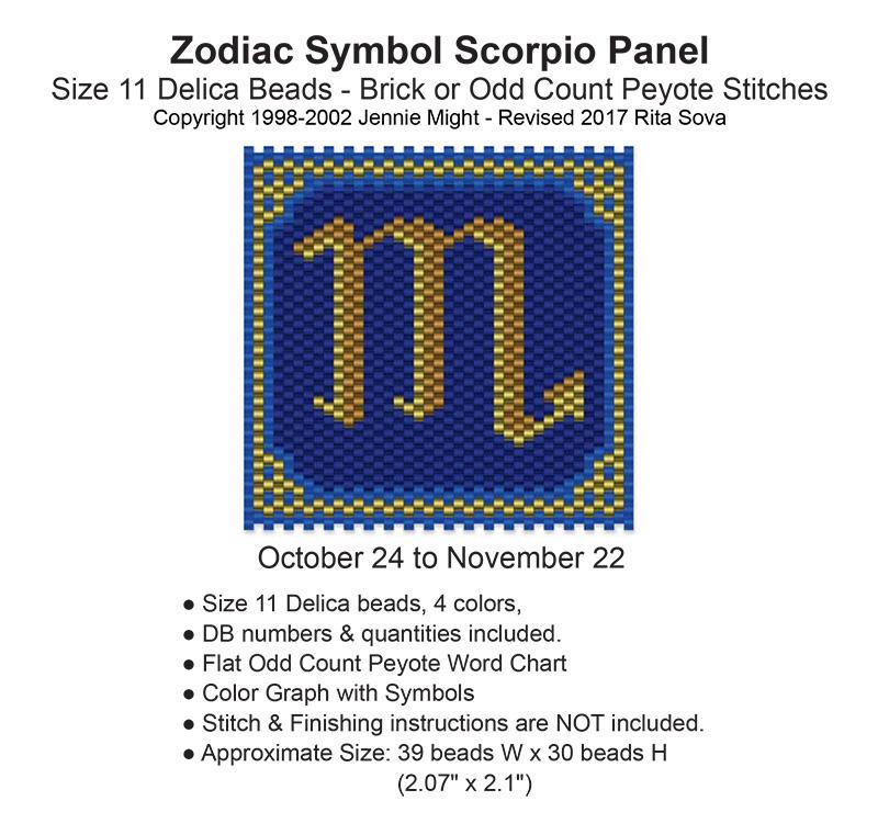 Zodiac Symbol Scorpio Panel Bead Patterns