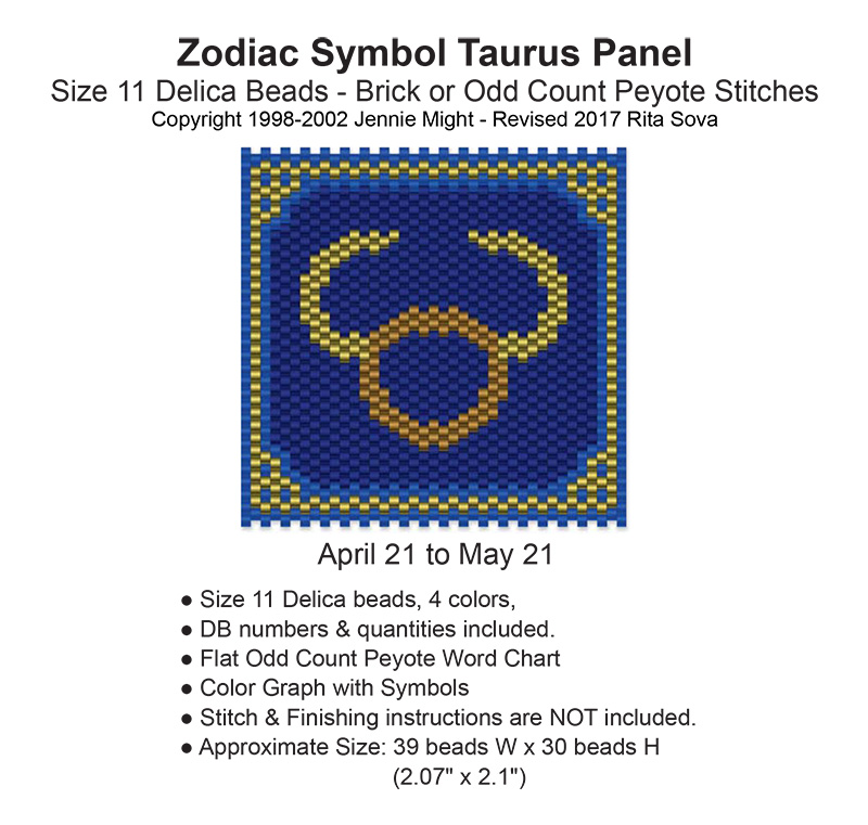 Zodiac Symbol Taurus Panel Bead Patterns