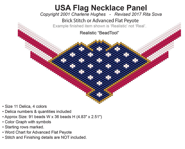 Usa flag necklace panel bead patterns for Patriotic beaded jewelry patterns