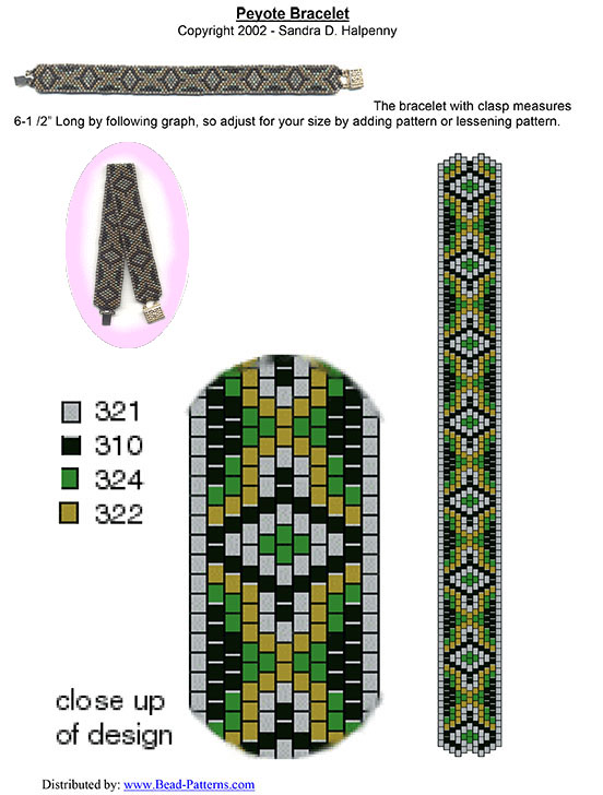 Peyote Beaded Bracelet Free Pattern