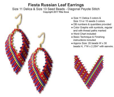 Fiesta Russian Leaf Earrings Bead Patterns