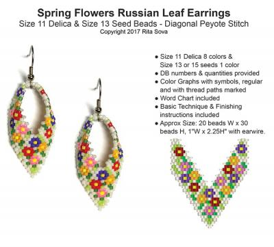 Spring Flowers Russian Leaf Earrings Bead Patterns